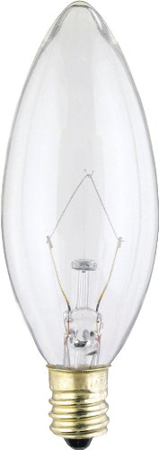Satco Products Inc S3282 Torpedo Candelabra Base E12 Decorative Light Bulb, B9.5, 25-Watt, Clear (Pack of 25)