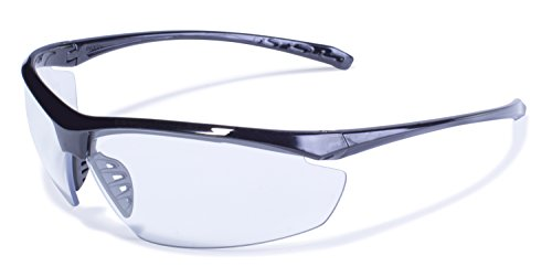 Global Vision Eyewear Lieutenant Safety Glasses with Gloss Black Frames and Clear (Industrial Safety Glasses)