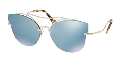 Miu Miu Women's 0MU 52SS Pale Gold/Blue Mirror White - Sunglass Miu Miu