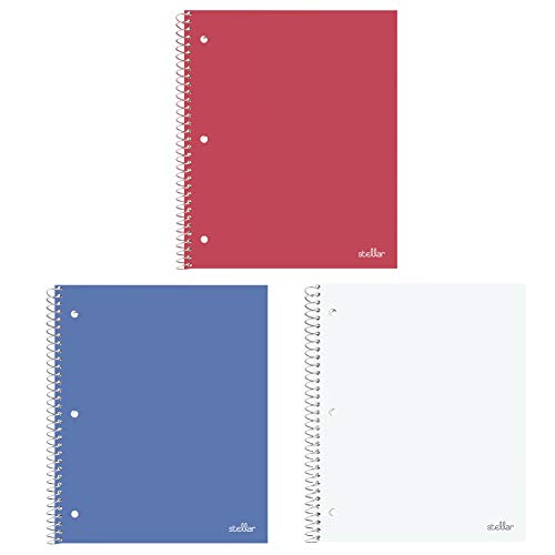 White Dividers 8.5 (Stellar College Ruled Notebook, 1-Subject, 1 Poly Pocket Dividers, 8-1/2