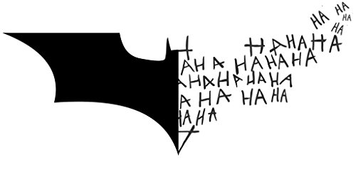 Decals Joker (Batman Logo Symbol + Joker Laugh HA HA HA, Black, 6 Inch, Die Cut Vinyl Decal, For Windows, Cars, Trucks, Toolbox, Laptops, Macbook-virtually Any Hard Smooth Surface)