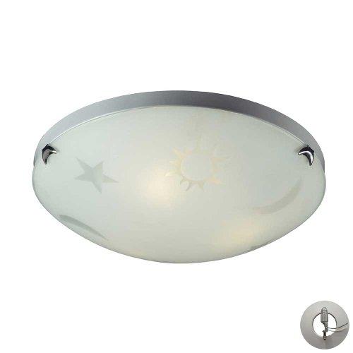 ELK 5088/3-LA, Novelty Round Glass Flush Mount Ceiling Lighting, 3 Light, Satin Nickel