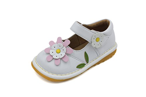 Little Mae's Boutique Toddler Shoes | Squeaky White with Light Pink Flower Mary Jane Toddler Girl Squeaky Shoes | Premium Quality (Removable Squeakers)(3) ()
