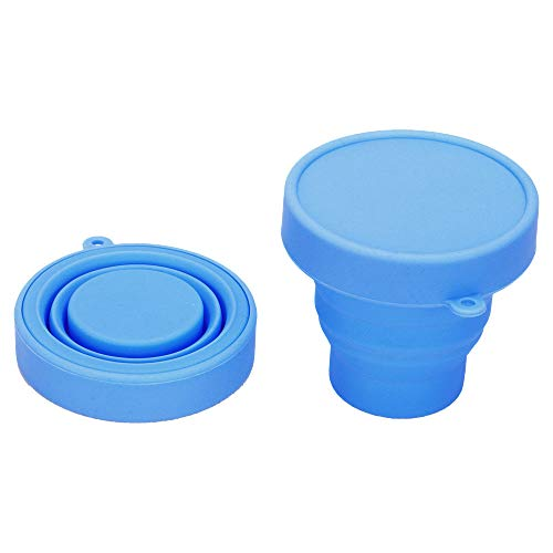 Collapsible Portable Silicone Cup, Sterilizing and Storing Menstrual Cup, Reusable Foldable Water Cup with Hiking Vacation Travel Outdoors-MinBlue