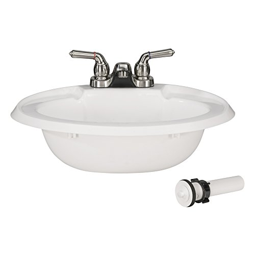 (RecPro Oval RV Bathroom Sink w/Drain Stopper and Brushed Nickel Teapot Faucet | White | Single Bowl Lavatory Sink | Camper Sink | 20x17 | Plastic )