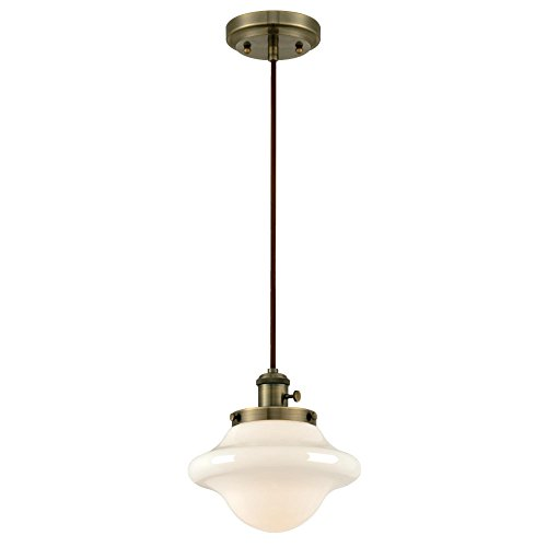 Westinghouse 6346400 One-Light Mini Pendant, Antique Brass Finish with White Opal ()