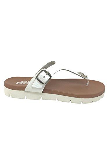 Sandal Footwear Abbey diSh Leather White Women 9 Flat dpIOAwq