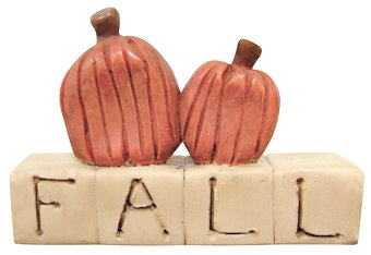 Fall Block Letters Pumpkins Resin Sign Country Primitive Harvest Décor ()