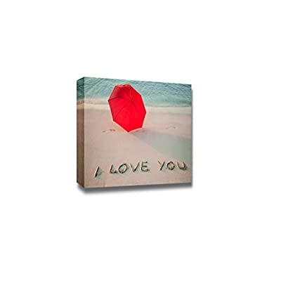 Canvas Prints Wall Art - Beautiful Seashore with Umbrella and I Love You Drawn on Sand - 32