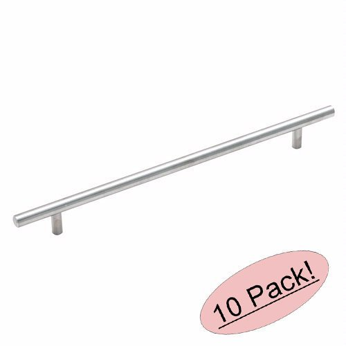 Amerock BP19013-SS Stainless Steel Cabinet Hardware Euro Style Bar Pull - 10 Inch (256mm) Hole Centers - 13-1/4'' Overall Length - 10 Pack by Amerock