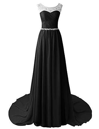 MuNiSa Womens Pleat Backless Chiffon Prom Dress Evening Gowns Long