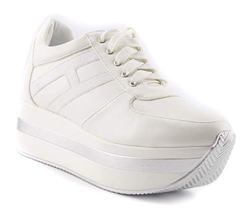 ShoBeautiful Women Casual Platform Sneakers Outdoor Thick-Soled Flat Sports Shoes PU PY02 White 9 -