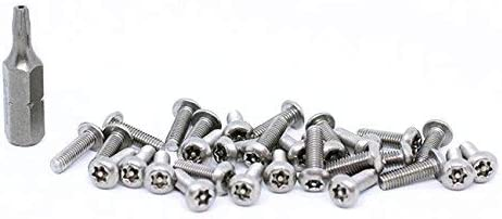 30pcs BelMetric Tamper Proof Screws M3X6 Stainless Steel Button Head Security Screw Torx with Pin Bit Included SBT3X6SS