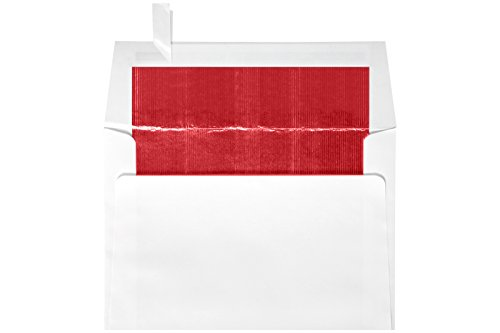 (6 1/2 x 6 1/2 Foil Lined Square Envelopes w/Peel & Press - White w/Red LUX Lining (250 Qty.)   Perfect for The Holidays, Announcements, Greeting Cards, Special Occasions and More!  FLWH8535-01-250)