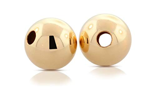 14Kt Gold Filled 7mm Round Bright Beads Hole Size 1.8mm - 5pcs Smooth and Shiny - 20% Off Discounted Price (2035)/1
