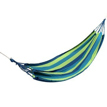 Blue : Generic Outdoor Colorful Stripe Canvas Hammock Swing Lying Recline Bed For Camping Hiking Picnic-parent