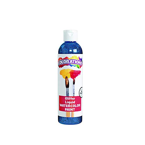Colorations Liquid Glitter Watercolor Paint, 8 fl oz, Blue, Non-Toxic, Painting, Kids, Craft, Hobby, Fun, Water Color, Posters, Cool Effects, Versatile, Gift