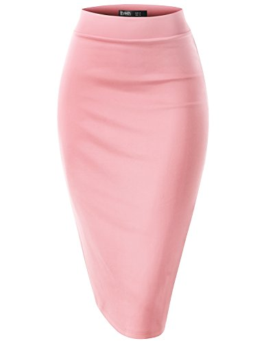 (TWINTH Slim Vintage Pencil Skirts Below Knee Skirt Peach XL)