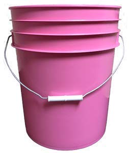 5 Gallon (20L) Plastic Buckets, 3-Pack - Pink]()