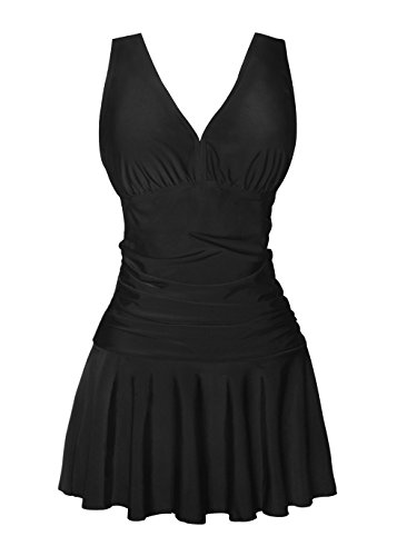 Dress Skating Figure Make - COCOPEAR Women's shaping body One Piece Swim Dress, Black, Small / 8-10