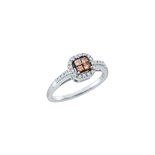 14kt White Gold Womens Princess Cognac-brown Colored Diamond Cluster Ring 1/4 Cttw by JawaFashion
