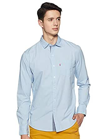 Levi's Men's Solid Regular fit Casual Shirt (32907-0032_Blue_Small)