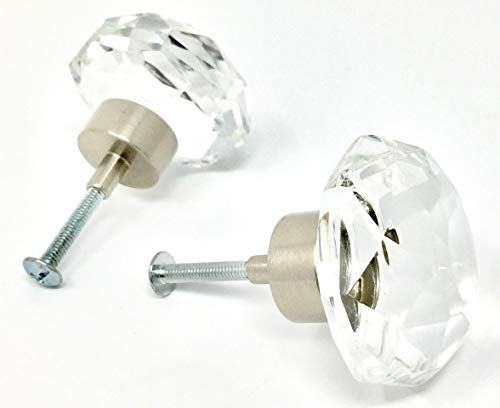 (LOTS of 2 OLD TOWN DIAMOND CUT 24% Lead Crystal Glass Ice Clear Knob Pulls - ANTIQUE BRASS trim.)