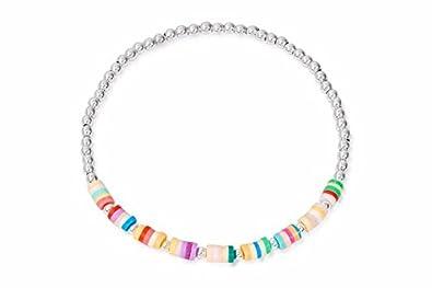 Boho-Betty Sula Silver Multi Coloured Beaded Stretch Bracelet r3StrjLgv