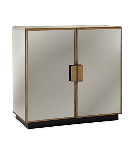 Garvey Antique Brass and Mirror Modern 2-Door Bar Cabinet by Bassett Mirror Company