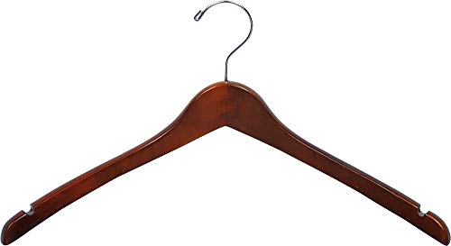 Curved Wood Top Hanger, Box of 50 17 Inch Wooden Hangers w/ Walnut Finish & Chrome Swivel Hook & Notches for Shirt Jacket or Coat by The Great American Hanger Company