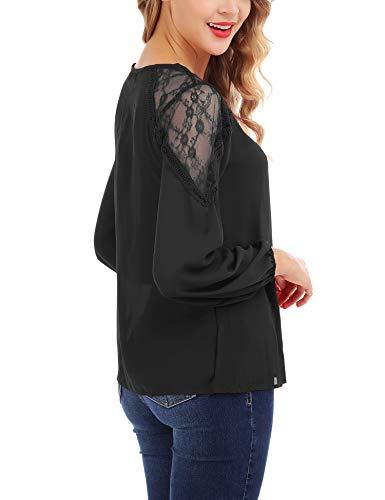 Couture Tunique Col Tops Longue Blouse Rond Solide de Dentelle FISOUL lgant Chemisier Noir Mode Mousseline Femmes Manche 8CtBqwIT