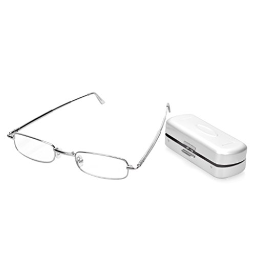 1 Pair Handy Read Book Map Menu Pocket Aluminum Eyeglasses Case   Stainless Steel Full Frames Folding Reading Glasses  1 50