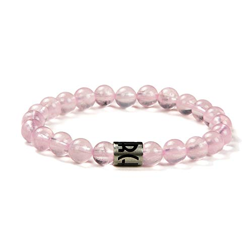 (Morchic Natural Rose Quartz Gemstones Simple Design Loose Beads Streach Bracelet for Women Men Unisex)
