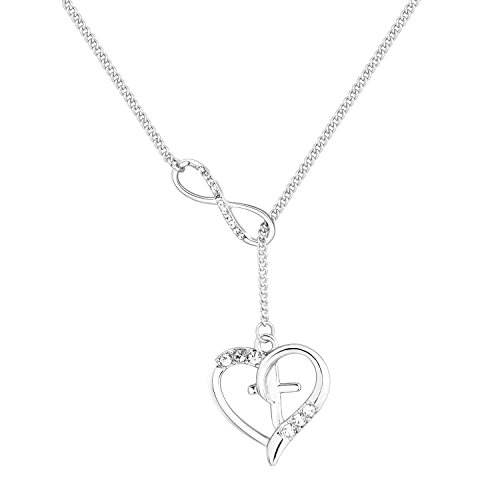 Heart Lariat Necklace Silver (maofaed Silver Cross in Heart Infinity Lariat Necklace Rhinestone Necklace with long chain (Silver Lariat Necklace))