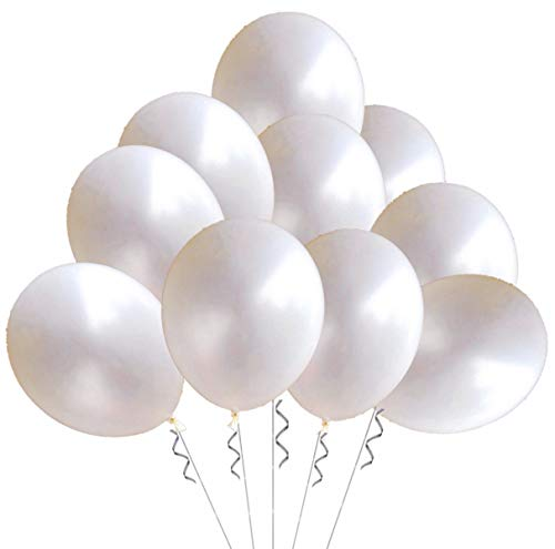Elecrainbow 100 Pack 12 Inch 3.2 g/pc Thicken Round Metallic Pearlescent Latex Balloons - Shining White Balloons for Party Supplies and Decorations -