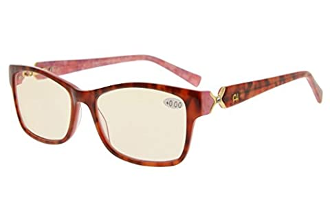 Eyekepper Amber Tinted Lens Optical-Quality Computer Eyeglasses With RX-Able Acetate Frames For Women UV & Blue Light Protection Red/Pink Floral - Eyeglasses Light Blue Frame
