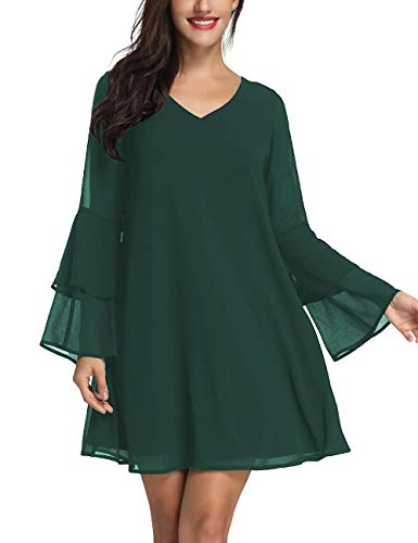 (Azalosie Womens Long Sleeve Tunic Dress V Neck Summer Chiffon Short Cocktail Casual Evening Loose Swing Solid Dress Forest Green)