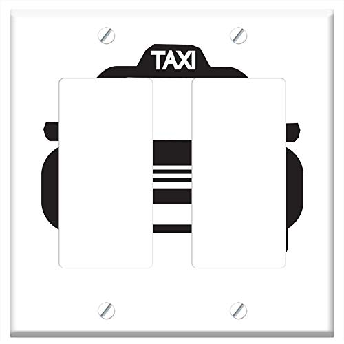 (Switch Plate Double Rocker/GFCI - Taxi Icon Auto Automobile Banner Bar Business 1 )