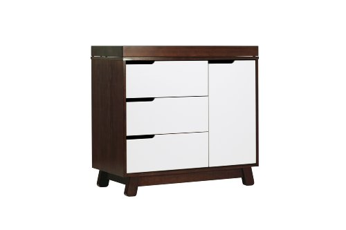 Babyletto Hudson 3-Drawer Changer Dresser with Removable Changing Tray, Espresso / White