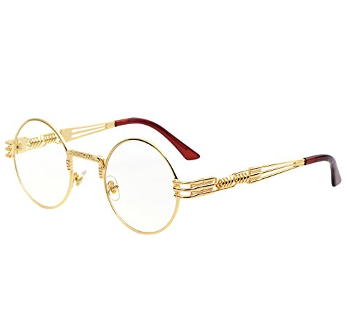 YANQIUYU Gothic John Lennon Metal Spring Frame Round Steampunk Sunglasses retro shade Available (Gold Frame/Clear Lens, - Frame Designer Glasses