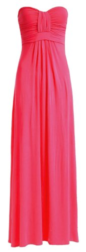 Fast femme fashion plain nœuds avant boobtube jung et matelas grande taille maxi robe eUR (52/54 (uK 24–26) (fuchsia)