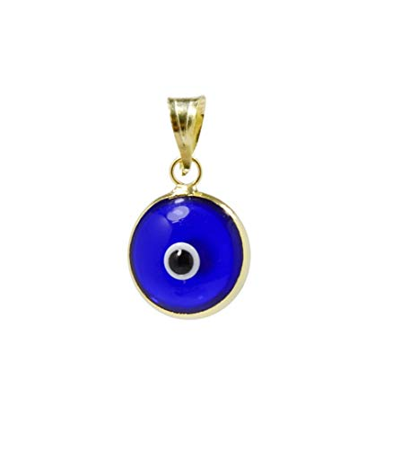 MIZZE Made for Luck Transparent Blue Gold Plated 925 Sterling Silver 10 MM Round Glass Evil Eye Charm Pendant ()