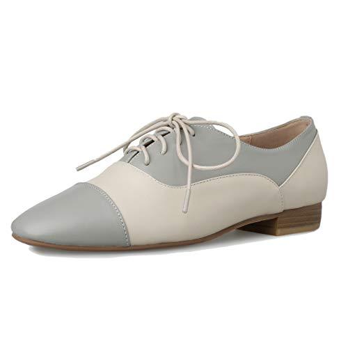 Cuero Oxford Gris Casual Annieshoe Mujer Zapatos Cordones Derby AH7qwqC