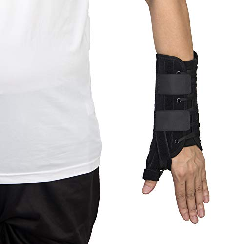 Wrist Brace with Thumb Spica, Adjustable Lace Thumb Wrist Stabilizer Support for Strain, Sprain, Arthritis, Carpal Tunnel-Left