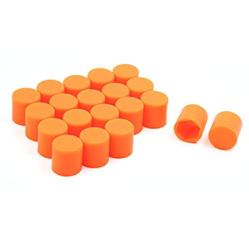 uxcell 21mm Silicone Car Wheel Lug Nut Bolt Cover Protective Cap Orange 20pcs
