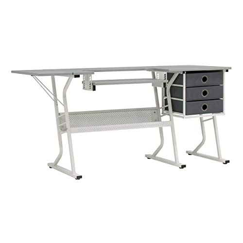 Sew Ready 38010 Eclipse Hobby Center Craft Table Computer Desk with Drawers, 60.25″ W x 23.75″ D x 29.25″ H, Grey/White