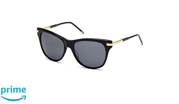 a81ce5f481d Amazon.com  Thom Browne TB-506-A-BLK-GLD-56 Sunglasses BLACK - GOLD w DARK  GREY LENS 56mm  Clothing