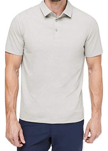 Lululemon Mens Evolution Polo Short Sleeve Shirt (Heathered Sea Salt, XL) ()