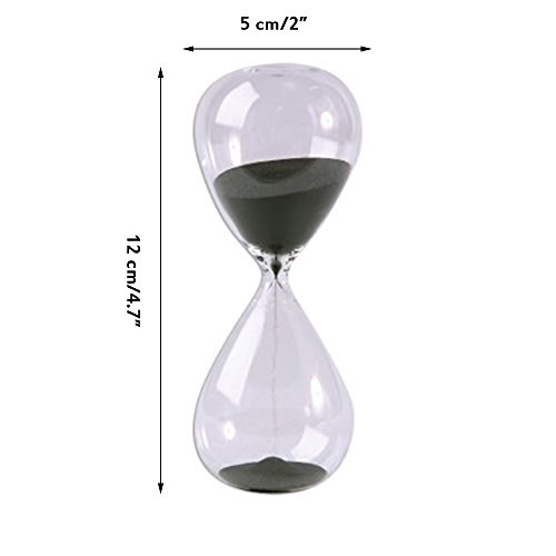 Large Fashion Black Sand Glass Sandglass Hourglass Timer Clear Smooth Glass Measures Home Desk Decor Xmas Birthday Gift (5 Minutes) by Winterworm (Image #2)