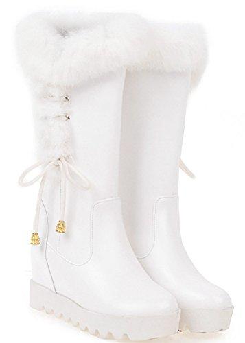 Aisun Damen Kunstleder Durchgängig Plateau Unsichtbare Keilabsatz Schnur Schleife Kunstfell Stiefel Weiß